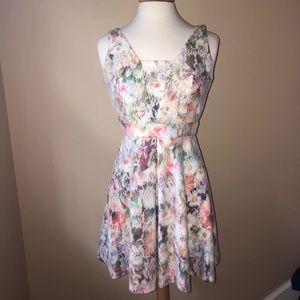 Aqua lace floral dress